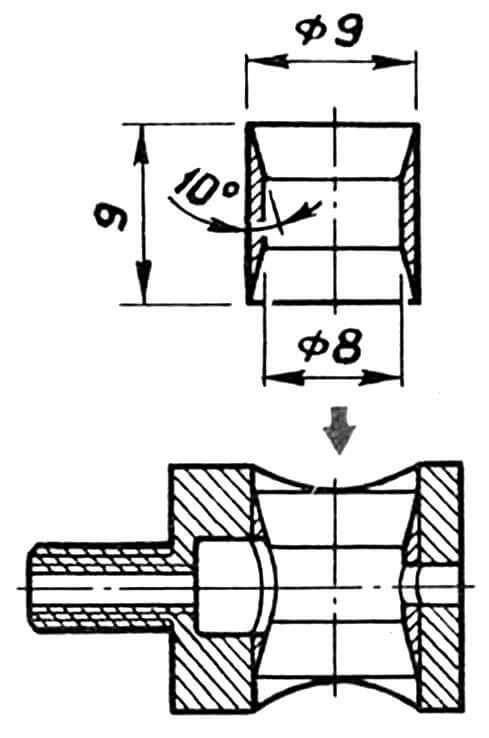 Рис. 6. Монтаж вставки в золотник радиокарбюратора по второму варианту модернизации двигателя.