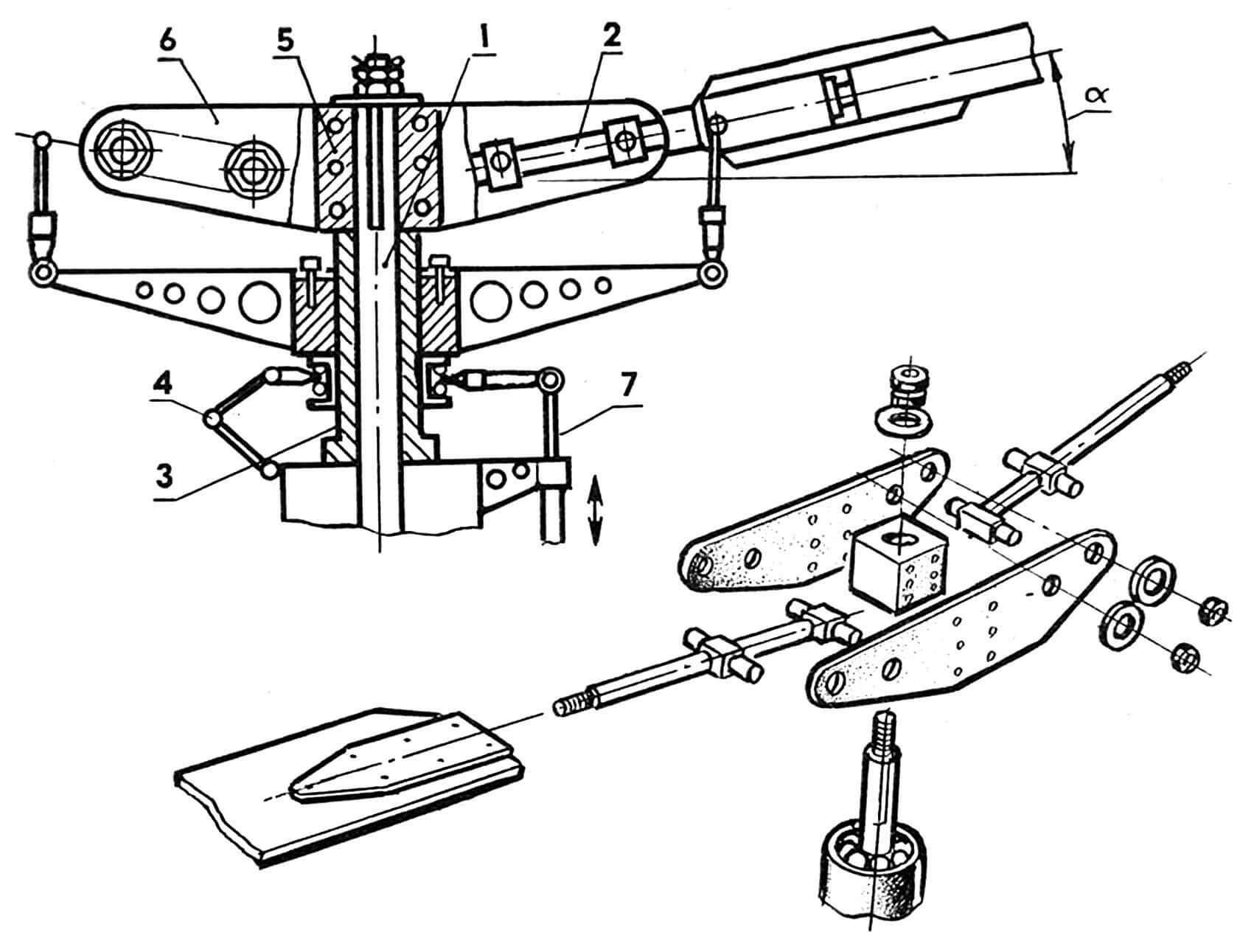 Рис. 6. Втулка несущего винта с механизмом угла установки лопастей: 1 — вал ротора, 2 — ось горизонтального шарнира, 3 — стакан, 4 — шлиц-шарнир, 5 — ступица втулки, 6 — траверса, 7 — тяга управления шагом винта.