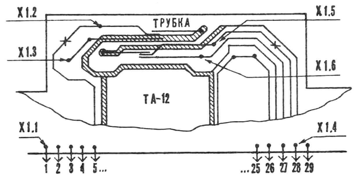 Подключение к телефонному аппарату ТА-12.