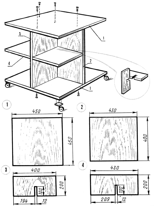 Столик-этажерка (в сборе и его детали): А — верхняя (столешница) и нижняя (основание) панели; В — вертикальная стойка широкая; Д — вертикальная стойка узкая; С — горизонтальная полка.