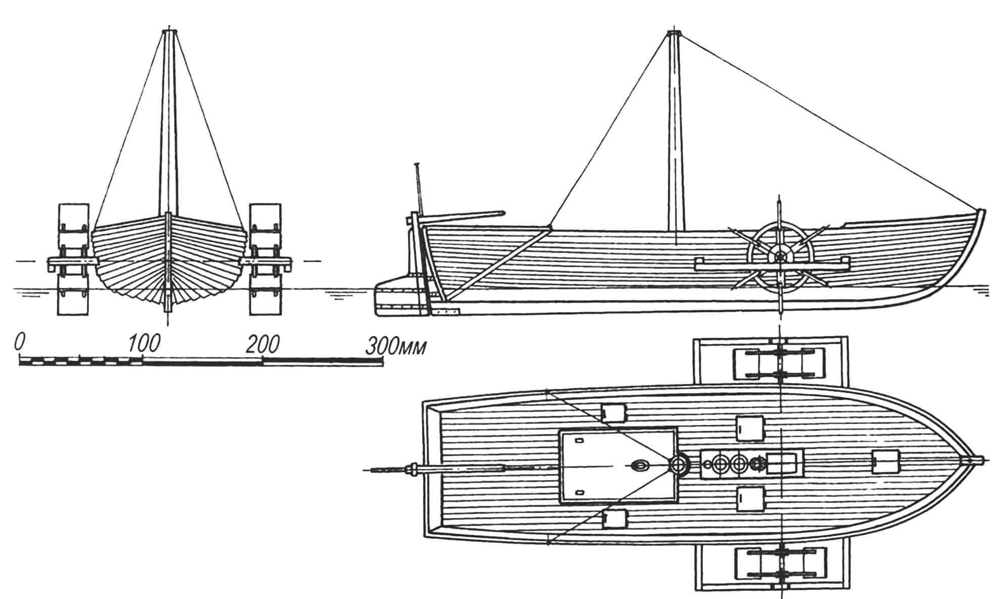 Модель первого российского парохода конструкции Карла Берда