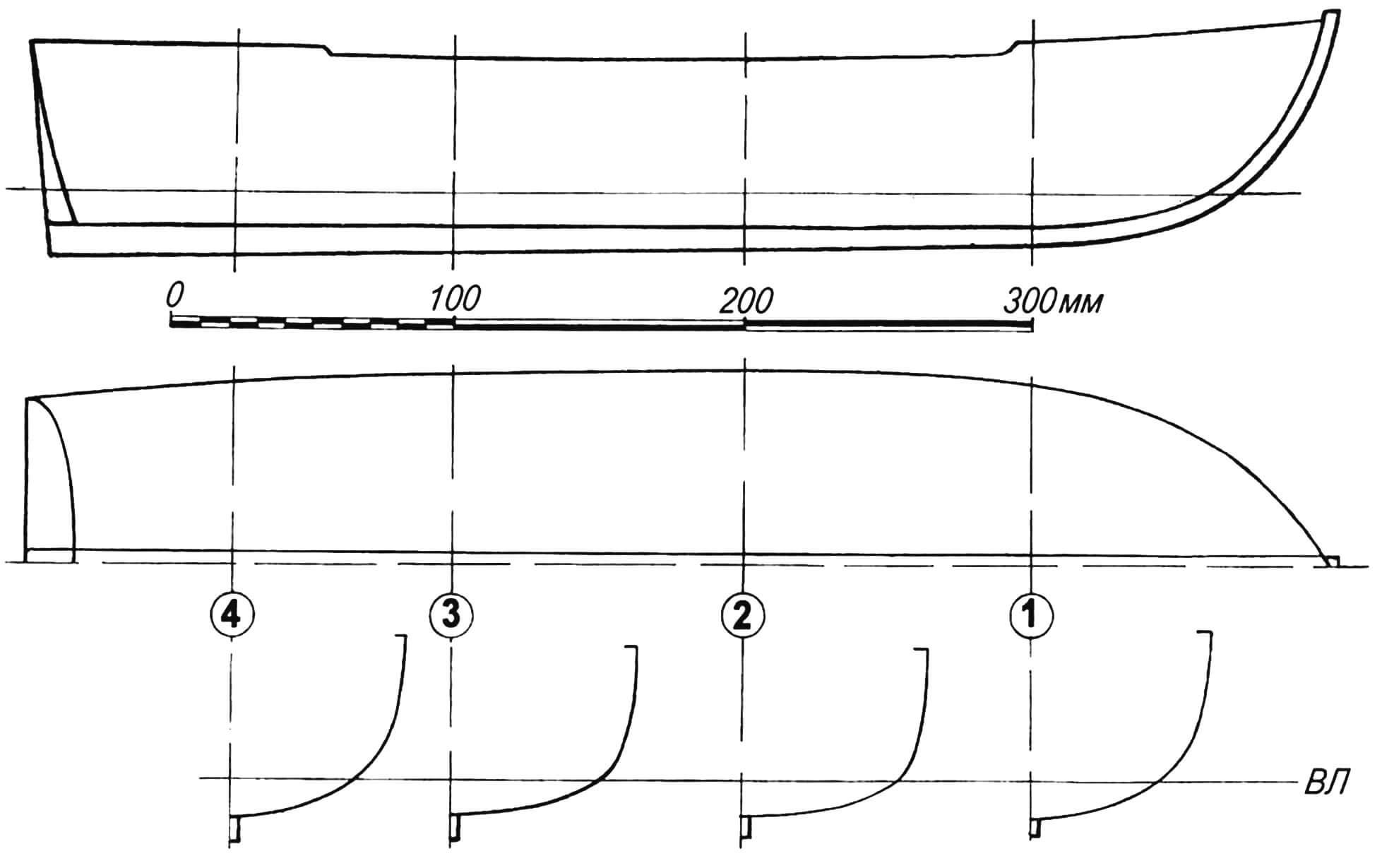 Теоретический чертеж корпуса модели парохода