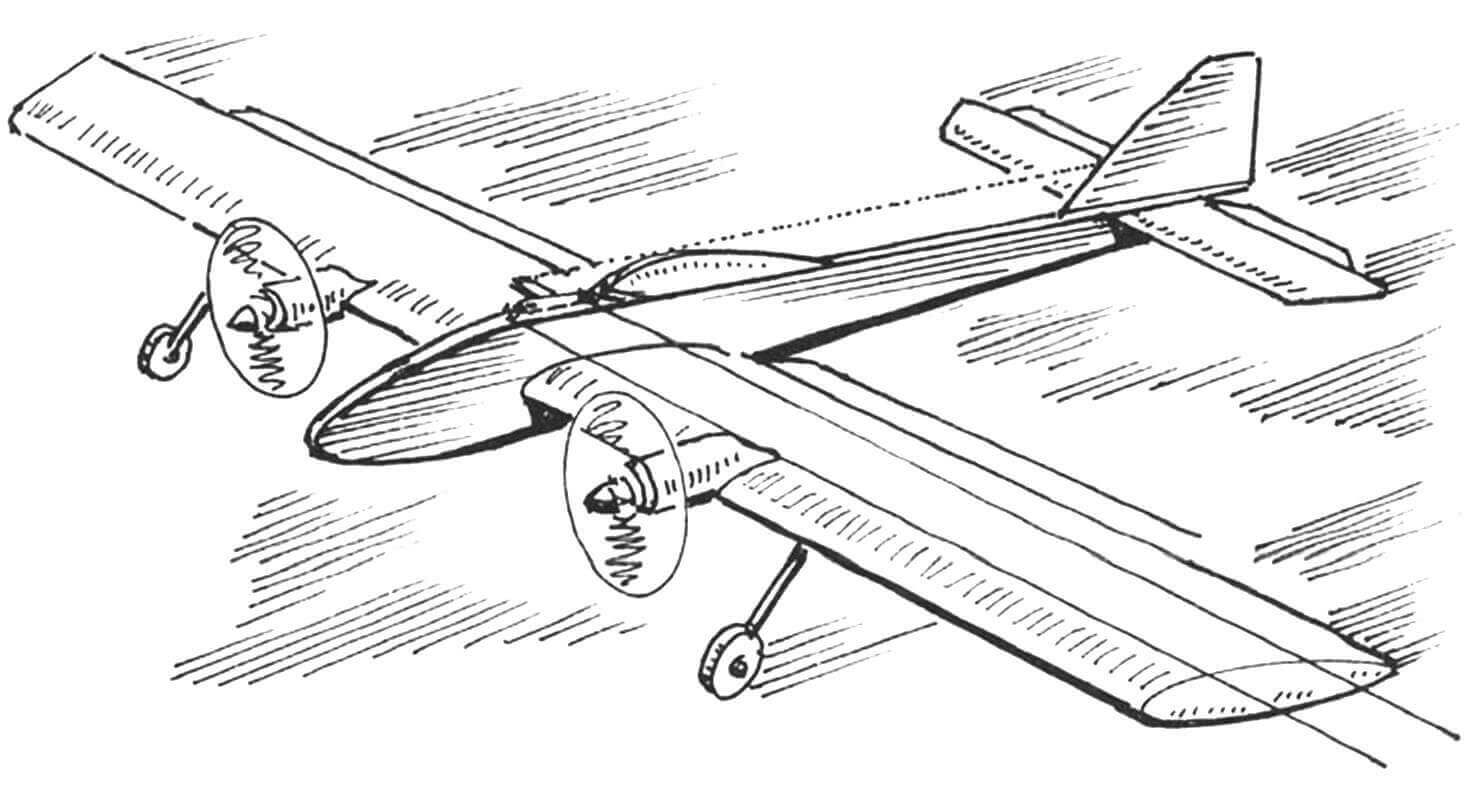 ДВУХМОТОРНЫЙ УНИВЕРСАЛ (кордовая авиамодель с электроприводом)