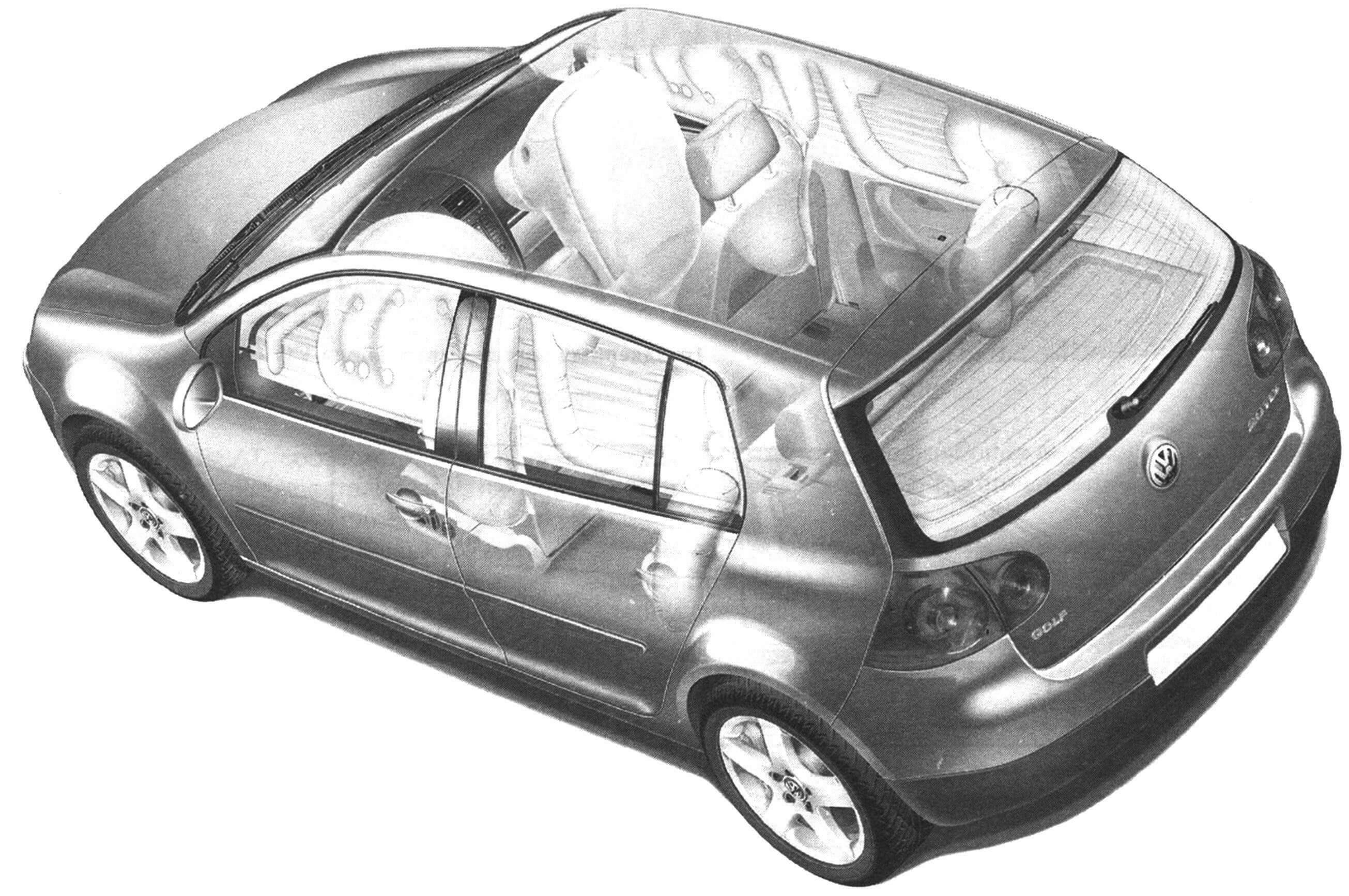 VW Golf V оснащен подушками безопасности и занавесками для защиты головы при боковых ударах