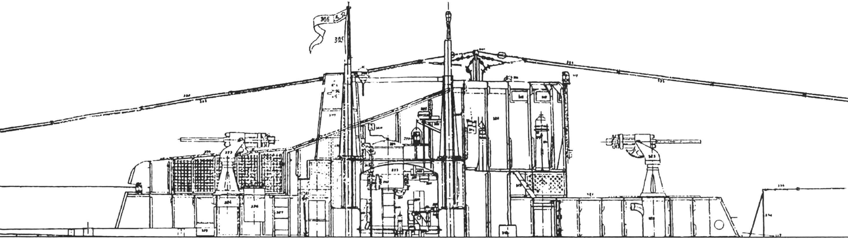 Разрез ограждения рубки подводной лодки V-бис-2 серии. Фрагмент заводского чертежа