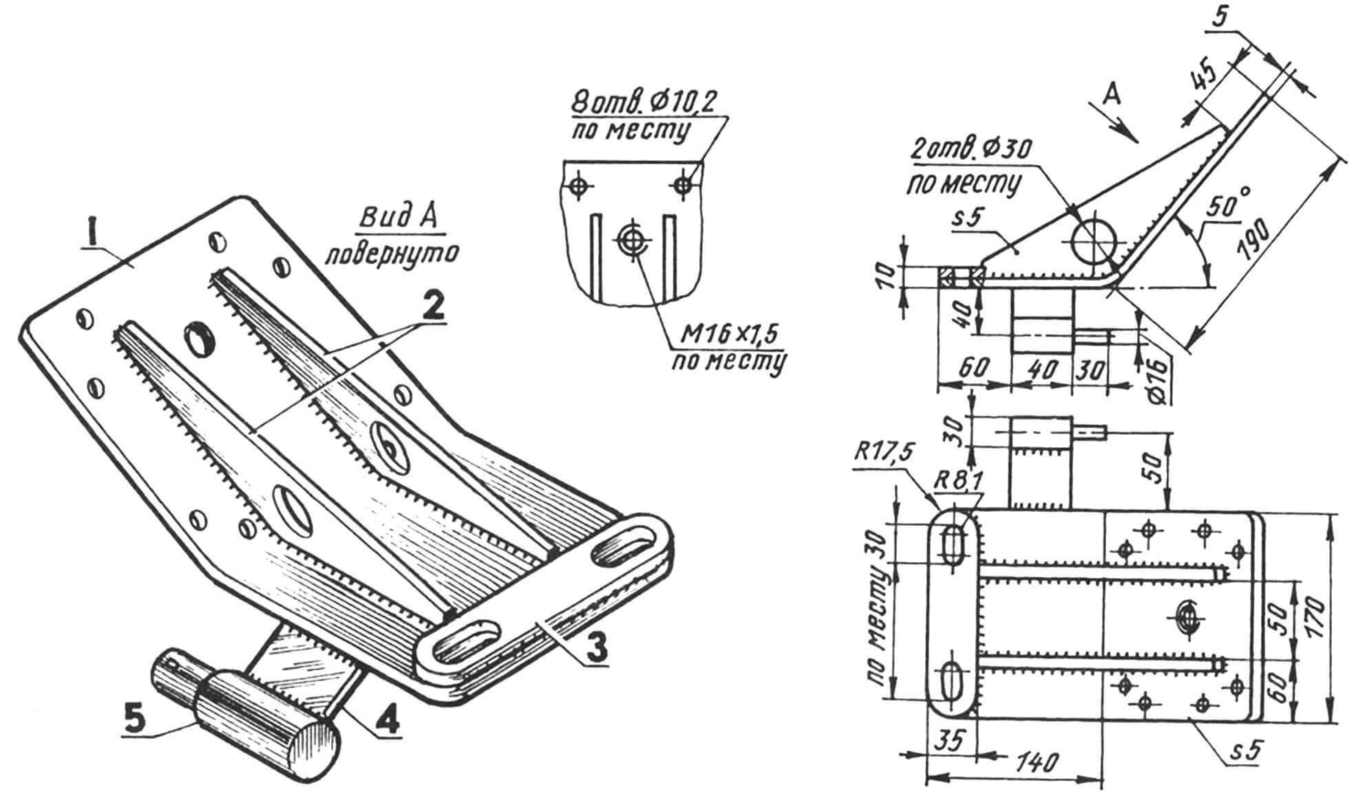 Правый кронштейн крепления раздаточной коробки к раме