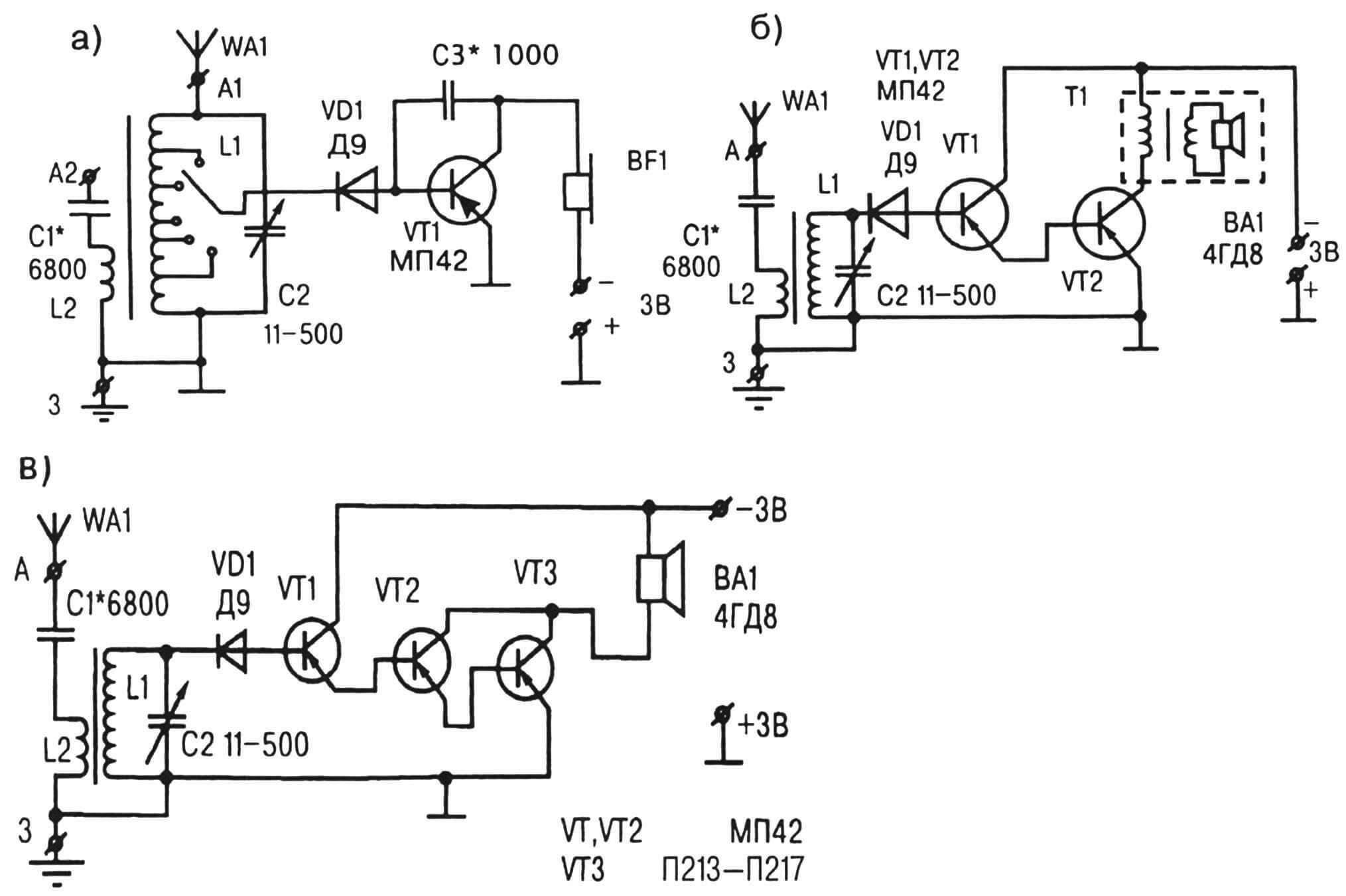 """Рис.2. Схемное """"содружество"""" детекторного приемника с усилителем на одном (а), двух (б), трех (в) транзисторах"""