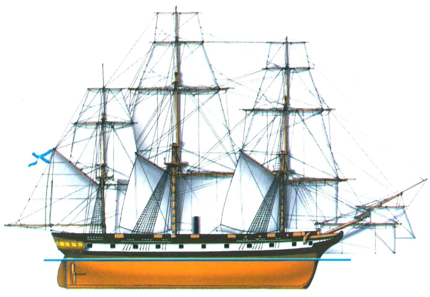 Винтовой фрегат «Архимед», Россия, 1848 г.