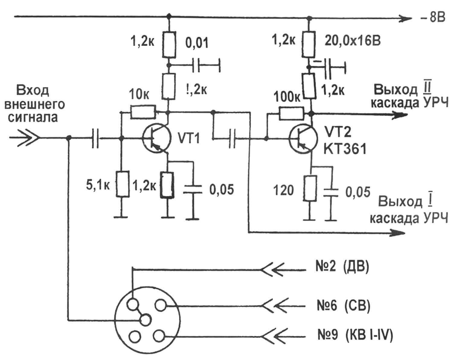 Рис. 4. Схема УРЧ с коммутацией ламелей на входе