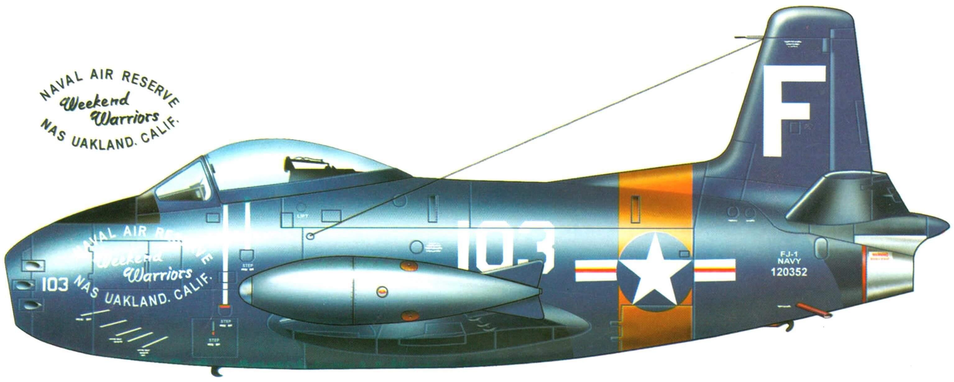 Истребитель FJ-1 авиации резерва ВМС США. Авиабаза Окланд