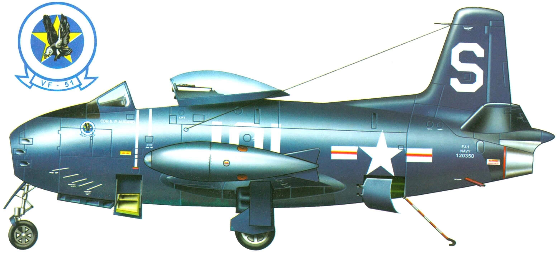 Истребитель FJ-1 (120350) командира эскадрильи VF-51 Е.П. Ауранда