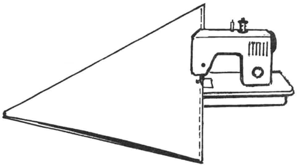 Рис.3. Сшивание попарно секторов тента на машинке.