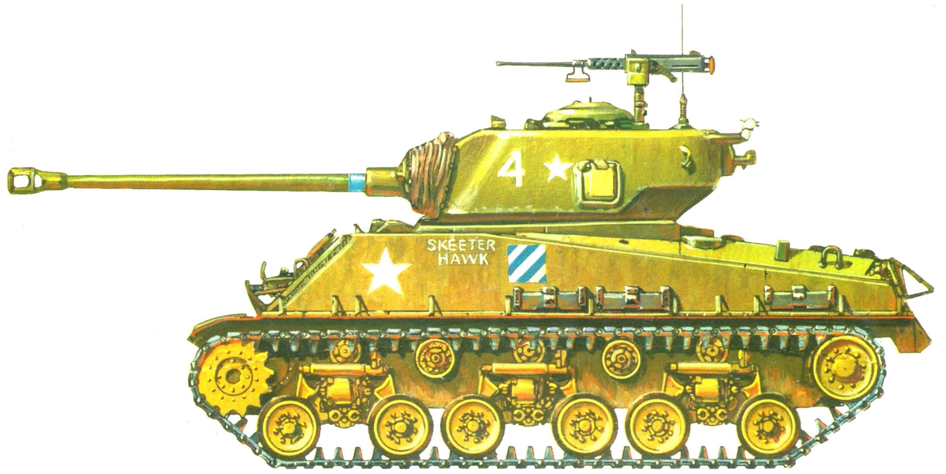 Средний танк М4АЗЕ8. 64-й танковый батальон армии США, Корея, февраль 1951 г.