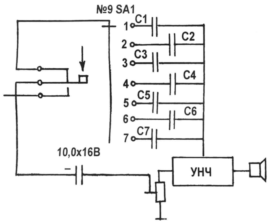 Рис. 7. Схема генератора звуковой частоты (ГЗЧ) с коммутациями