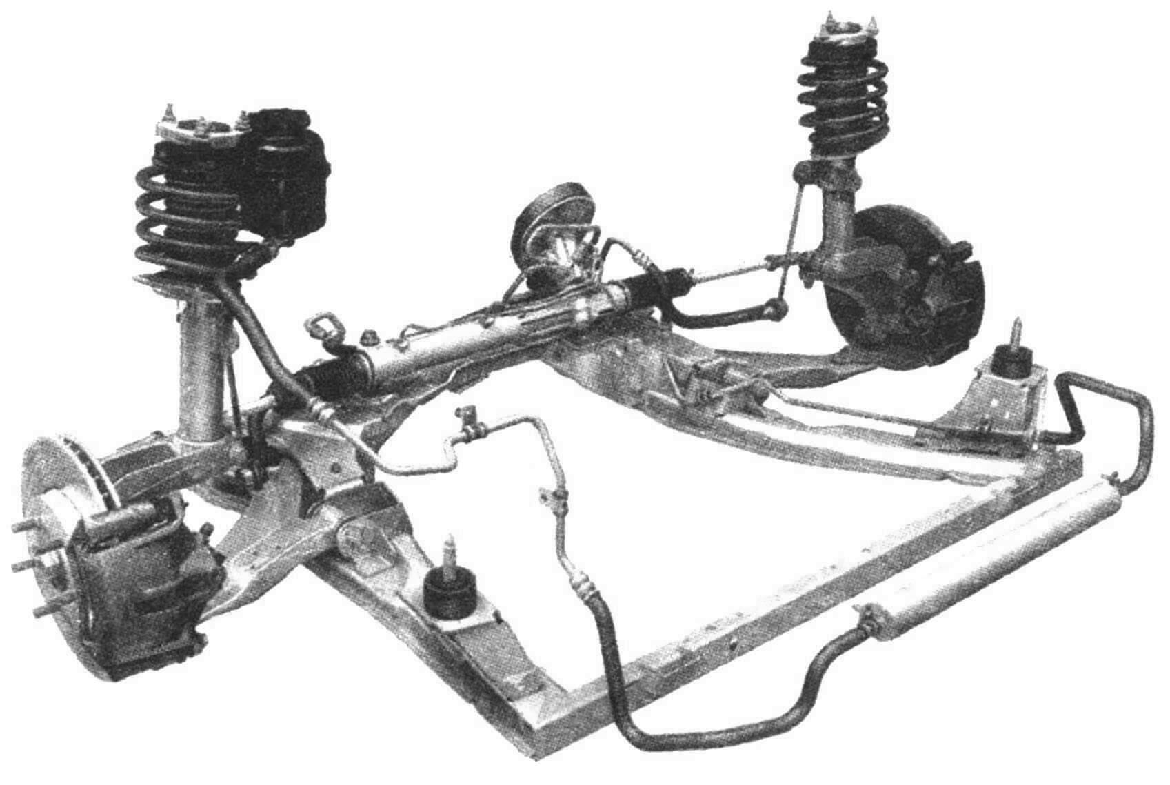 Передняя подвеска автомобиля Jaguar X-type со стойками McPherson
