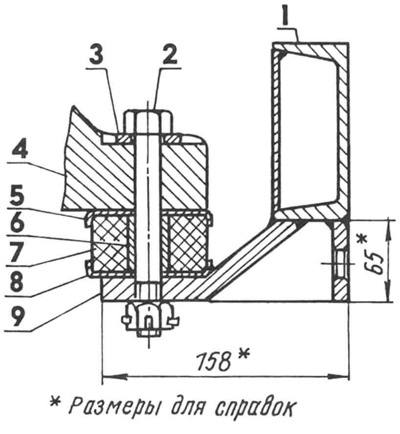 Один из узлов креплении двигатели к раме