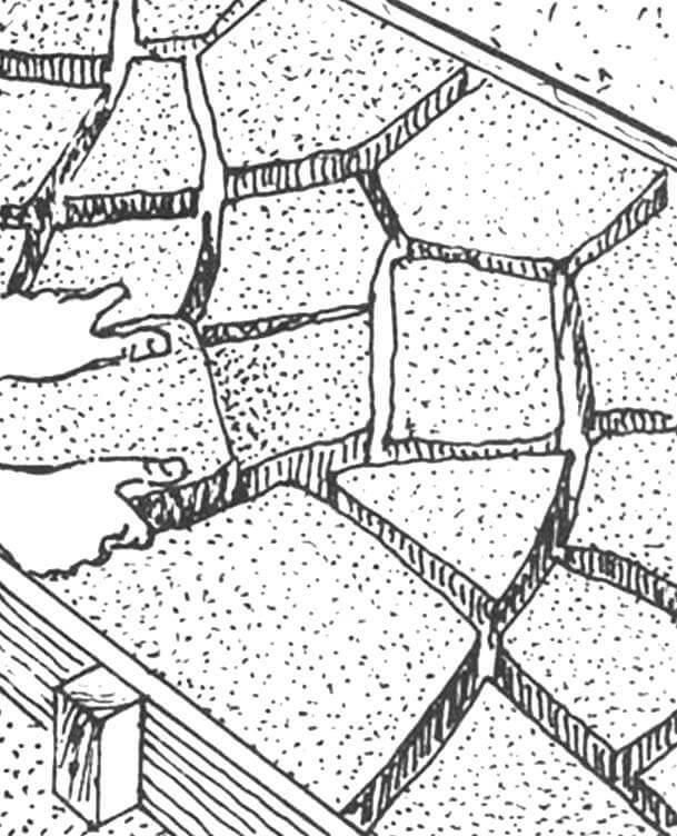 Рис. 6. Укладка твёрдого покрытия из обломков асфальта