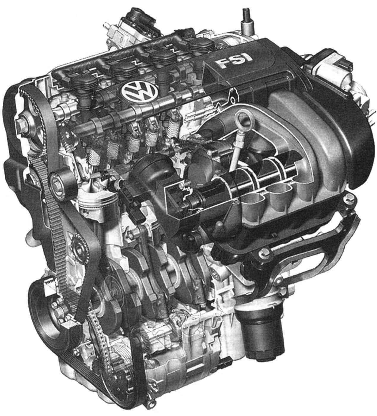 Для VW Golf V разработаны новые экономичные и экологичные двигатели FSI с непосредственным впрыском топлива, способные работать на сверхобеднённой горючей смеси