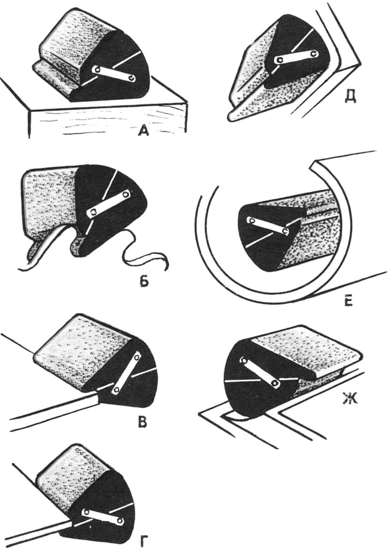 Варианты использования колодки