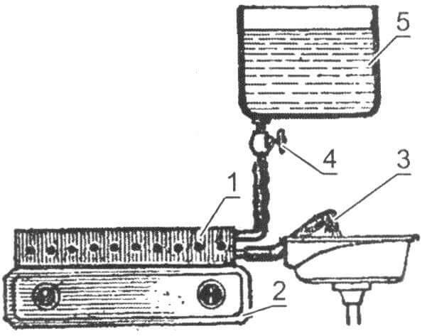 Вариант подключения нагревателя к емкости с водой при отсутствии водопровода