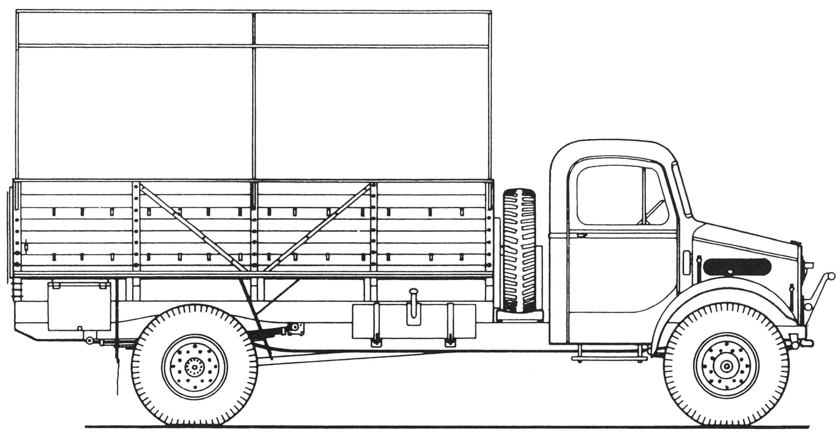 Bedford OYD (ранних выпусков, с деревянной грузовой платформой)