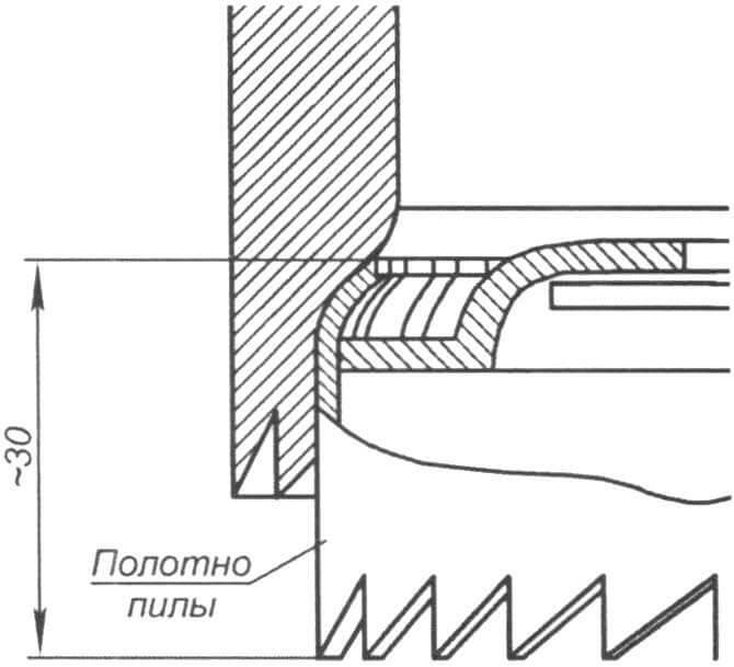 Фрагмент эскиза сверла с режущей кромкой из ленточной пилы