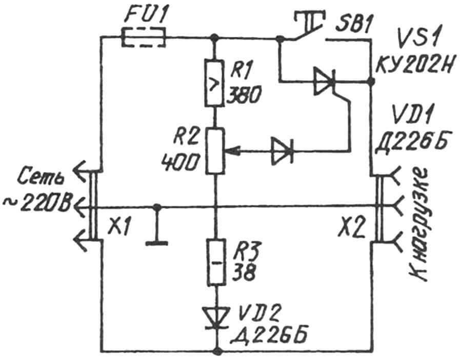 Принципиальная электрическая схема самодельного тиристорного регулятора оборотов для ручного инструмента