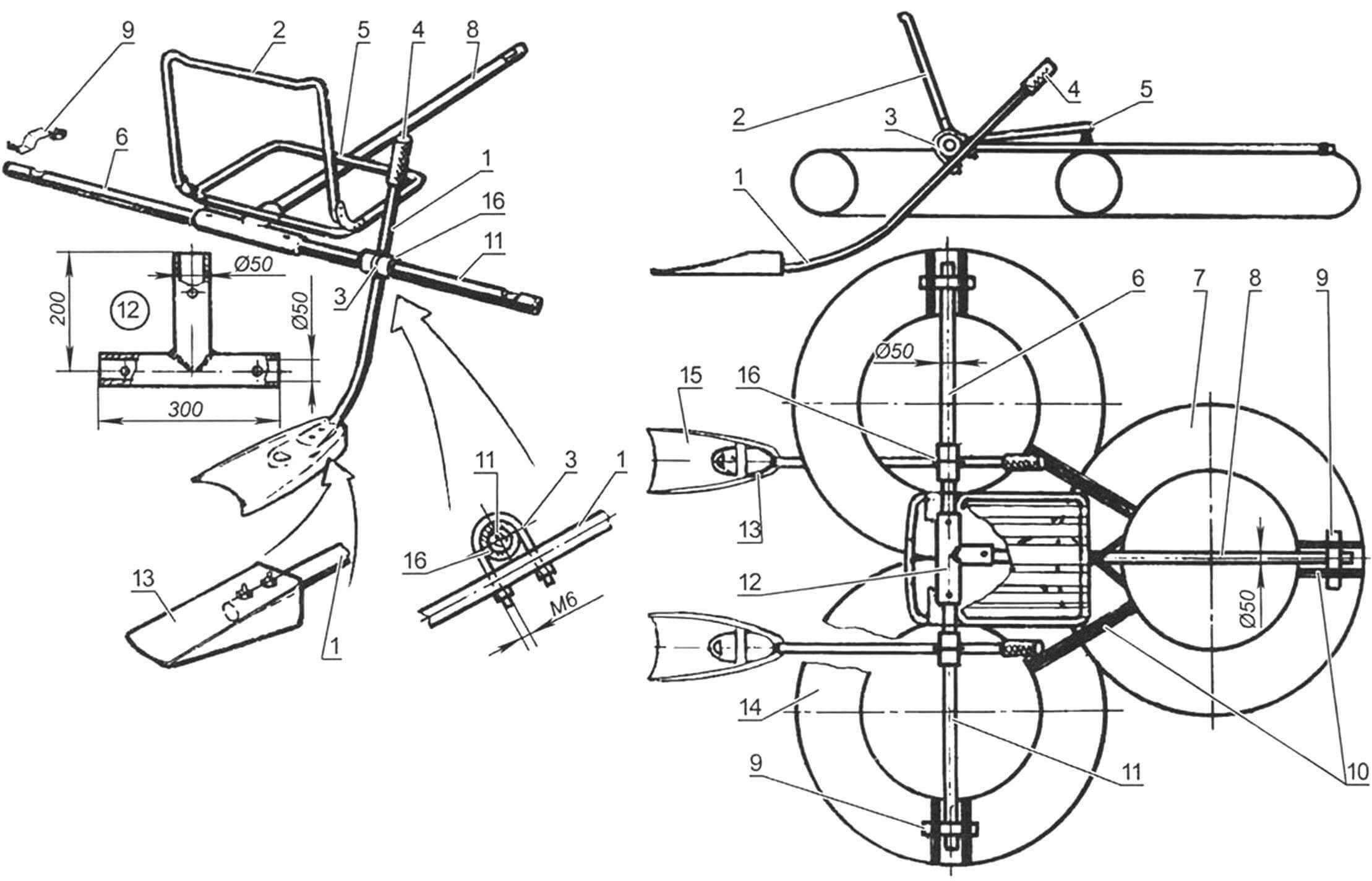 Трехкамерный плотик с ластовым движителем