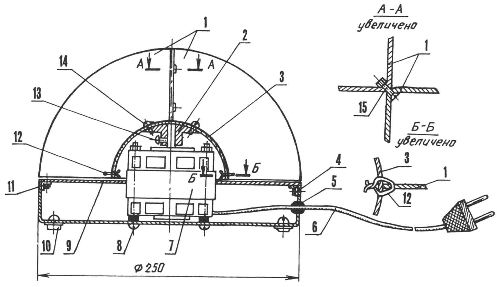 Центробежный вентилятор коллективного пользования (защитные дуги условно не показаны)