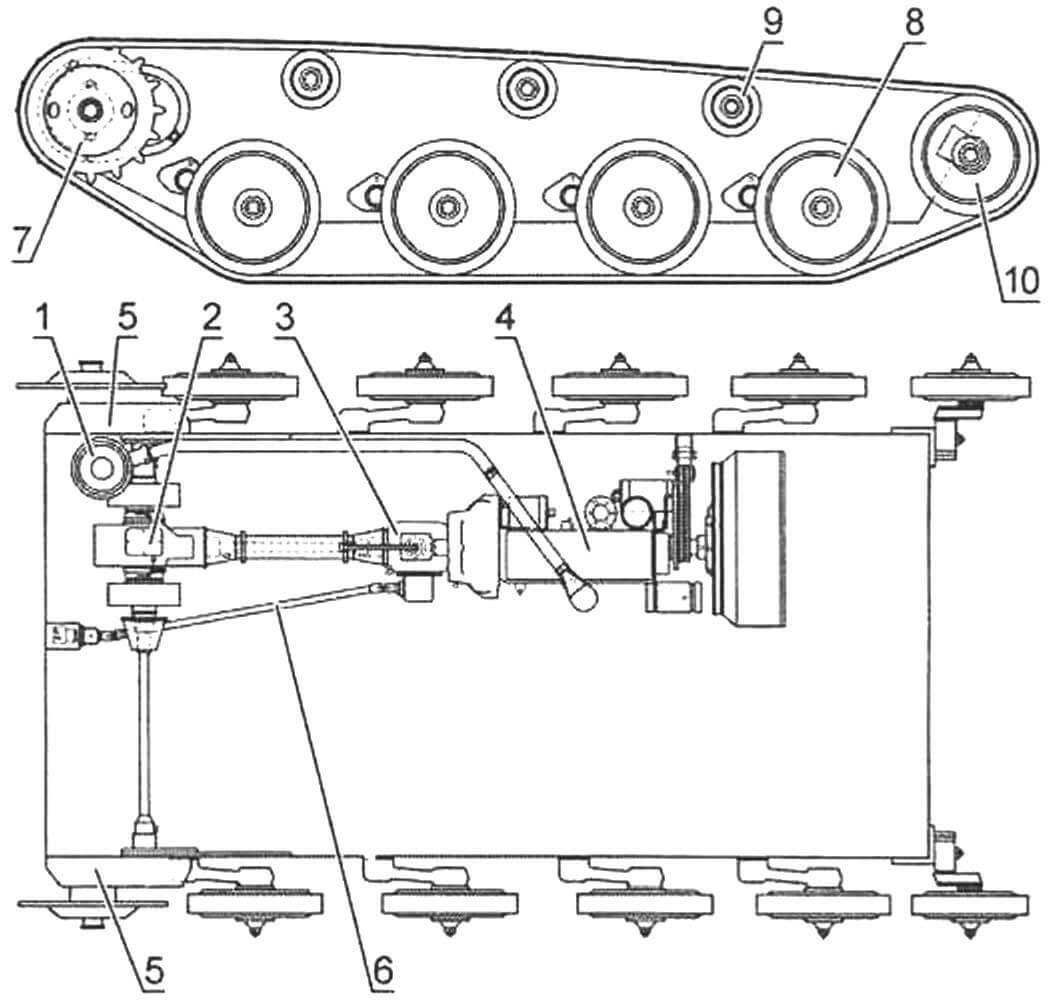 Схема шасси танка Т-60