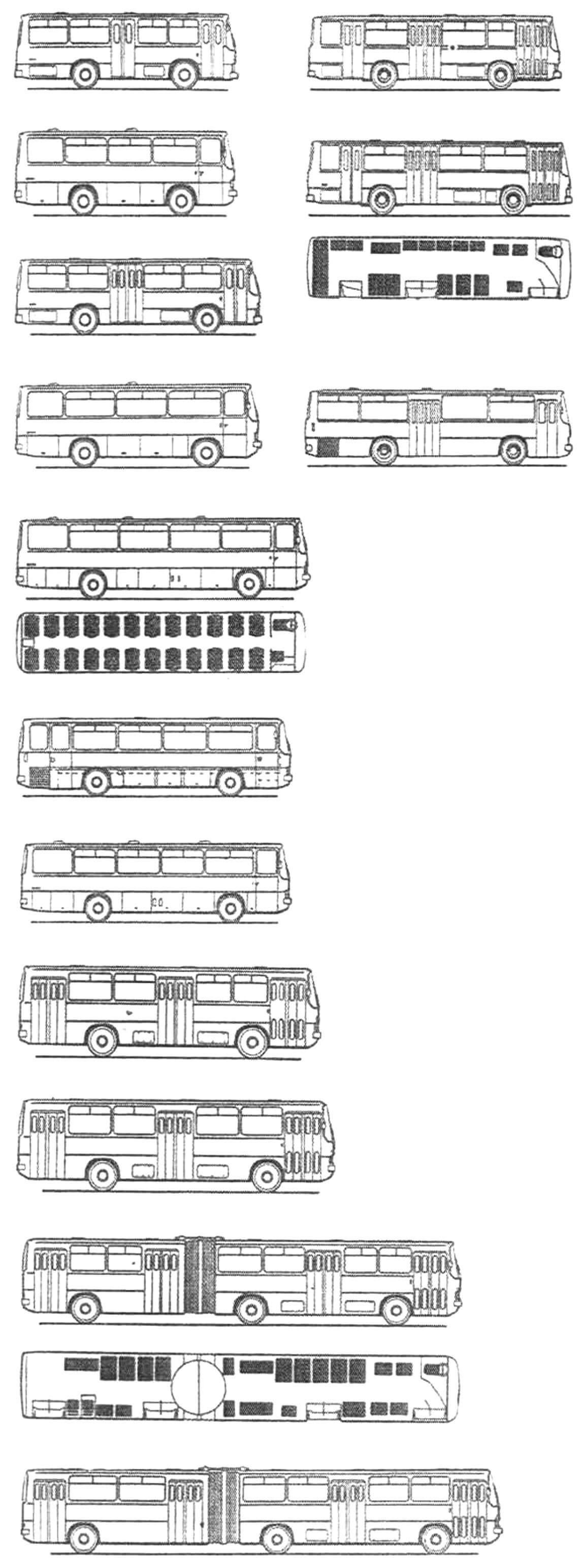 «Семейство» автобусов Ikarus 200 (модели слева направо сверху вниз): 208, 240, 210, 242, 220, 242 (салон), 230, 266, 250, 250 (салон), 255, 256, 260, 262, 280, 280 (салон), 282. Эскизы из журнала «Венгерские автобусы Икарус-200» и «Автомобильный транспорт» №5 за 1974 год