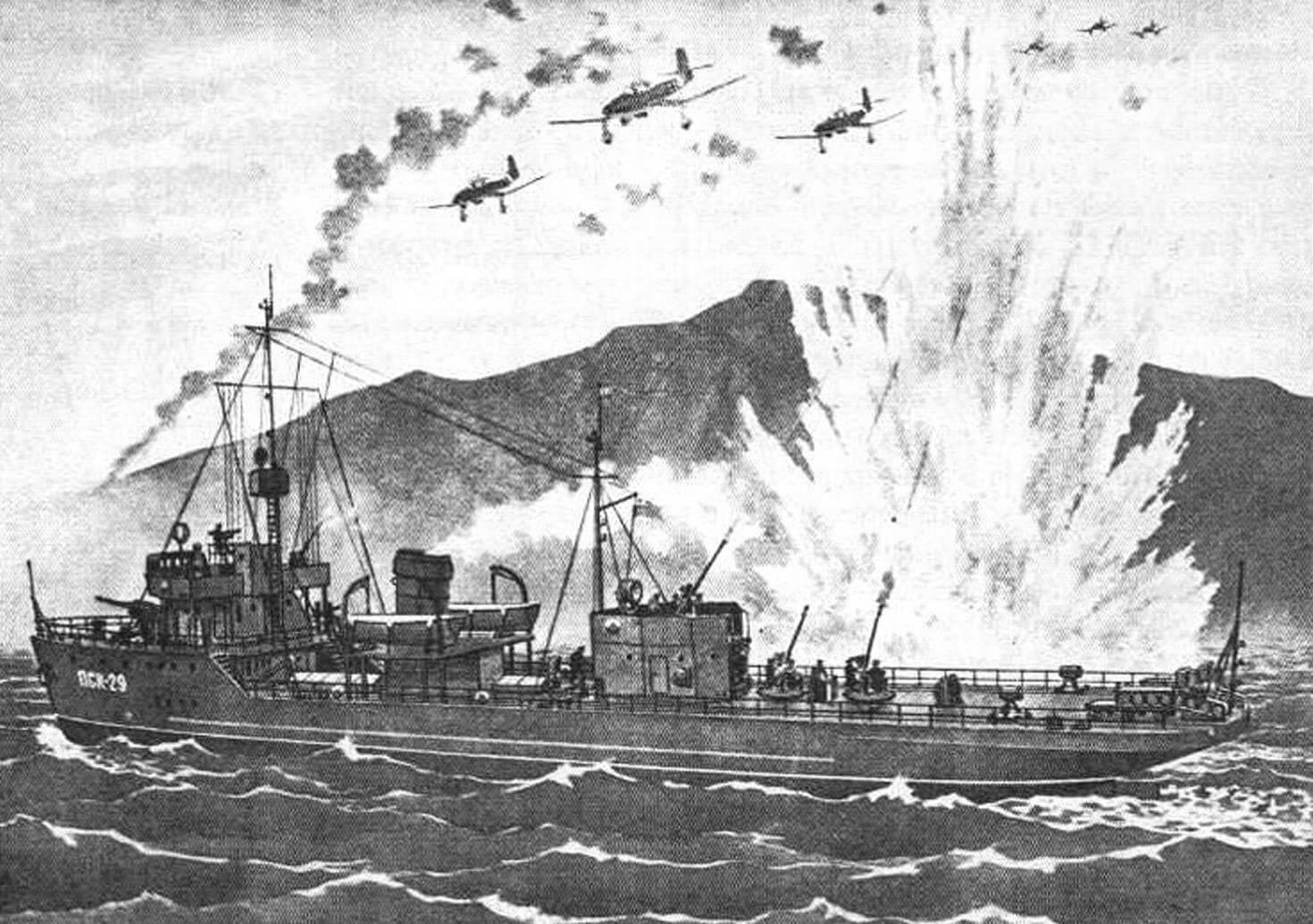 Сторожевой корабль «Бриллиант» ведет бой с немецкими самолетами в Мотовском заливе возле полуострова Рыбачий (рисунок Н. Рожнова)