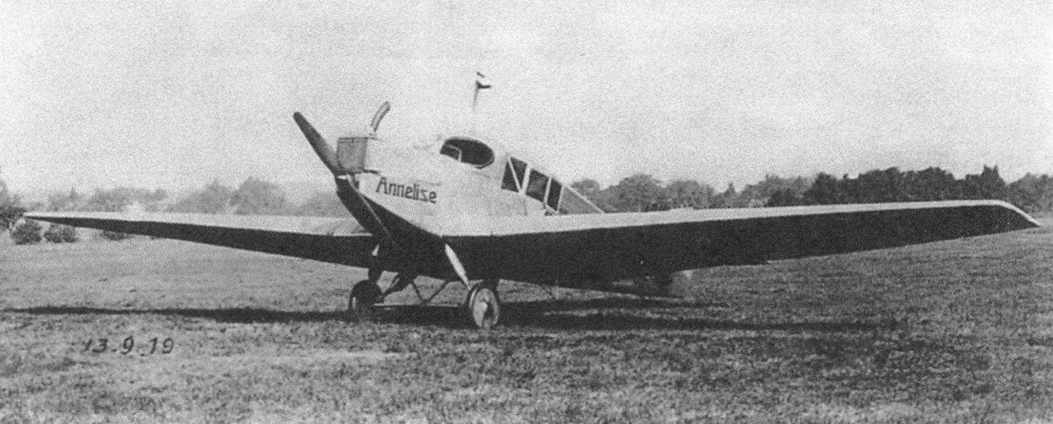 Опытный образец J13, носивший собственное имя «Аннелиза»; сентябрь 1919 г.
