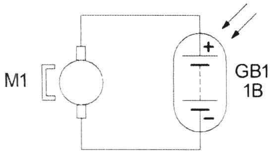 Простейшая электрическая схема подключения двигателя к фотоэлементам
