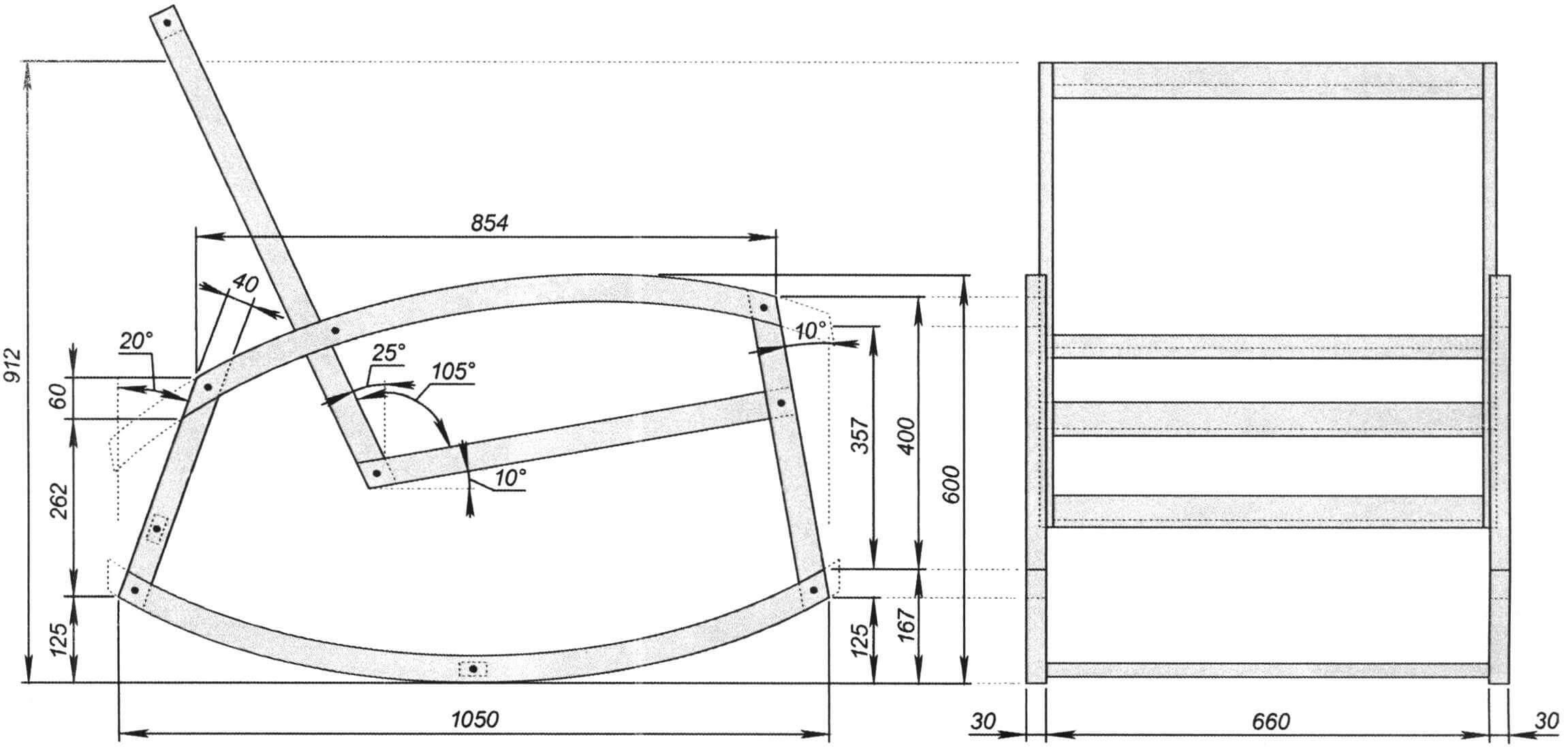 Кресло-качалка (ширина указана справочно, подбирается индивидуально)