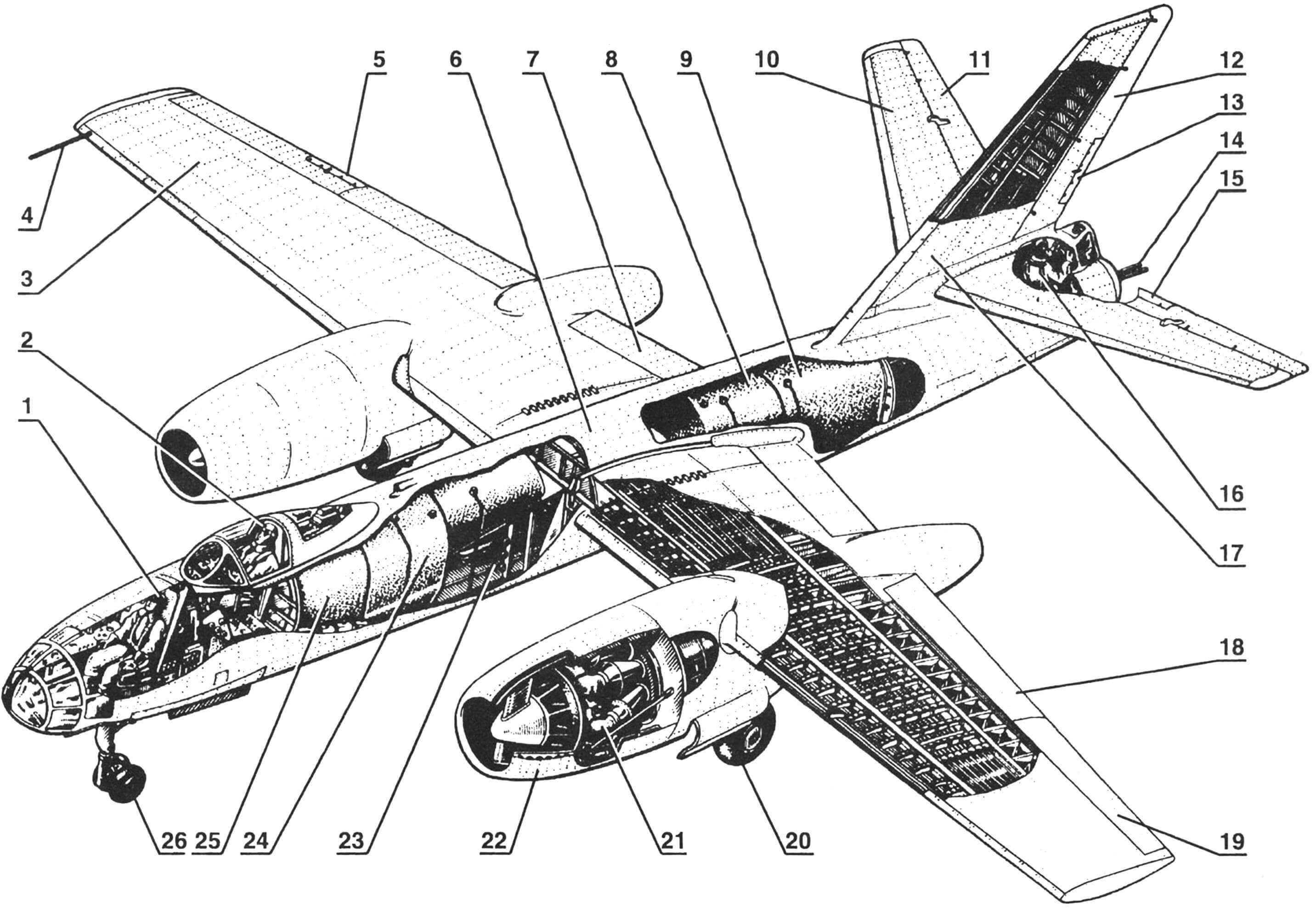 Компоновка фронтового реактивного бомбардировщика Ил-28