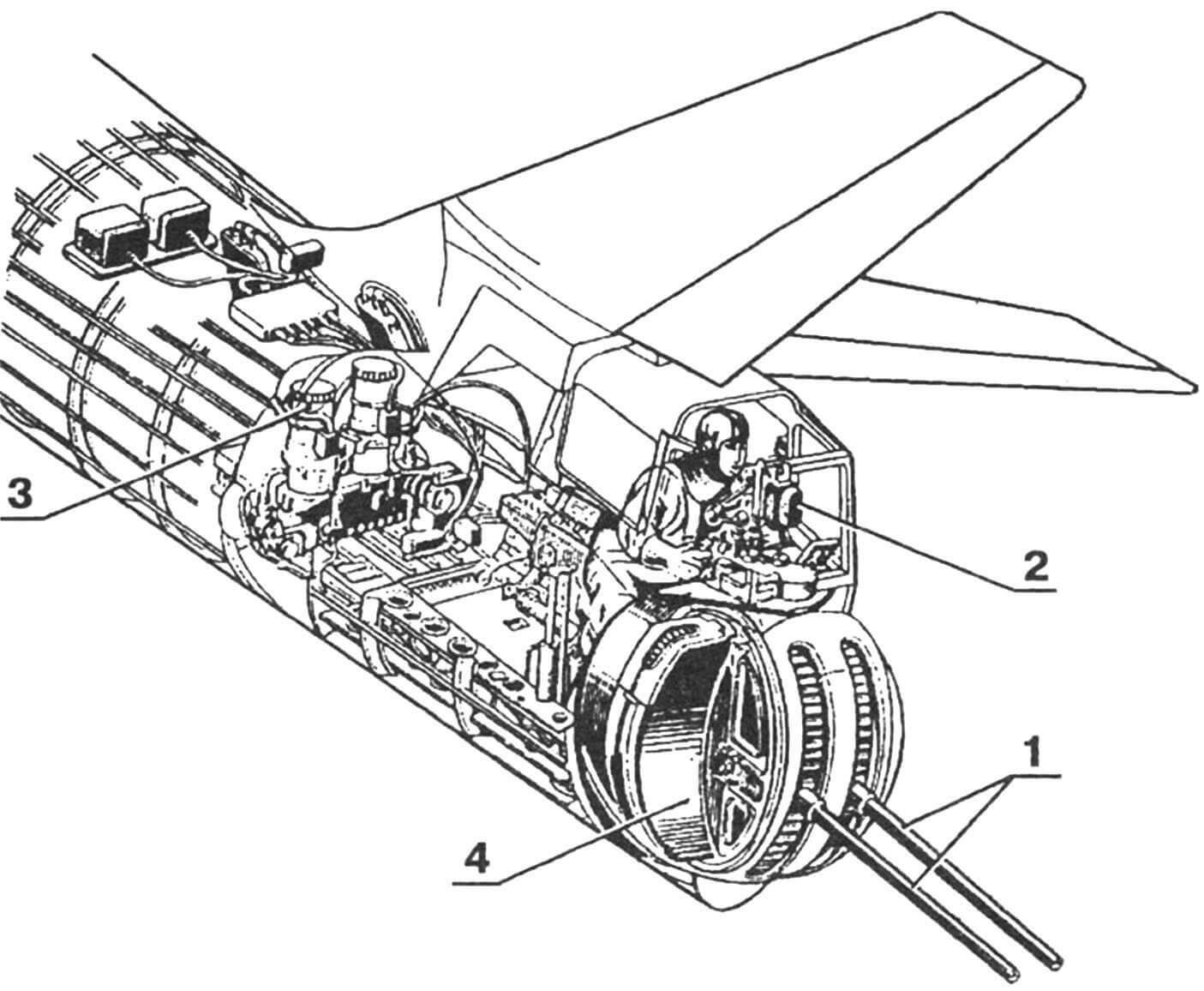 Компоновка кормовой оборонительной установки Ил-К6 самолета Ил-28