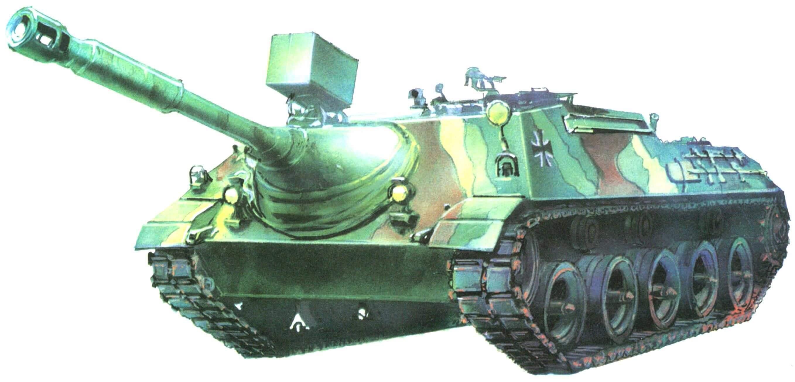 Kanonenjagdpanzer в типовом многоцветном камуфляже бундесвера. 70-е годы