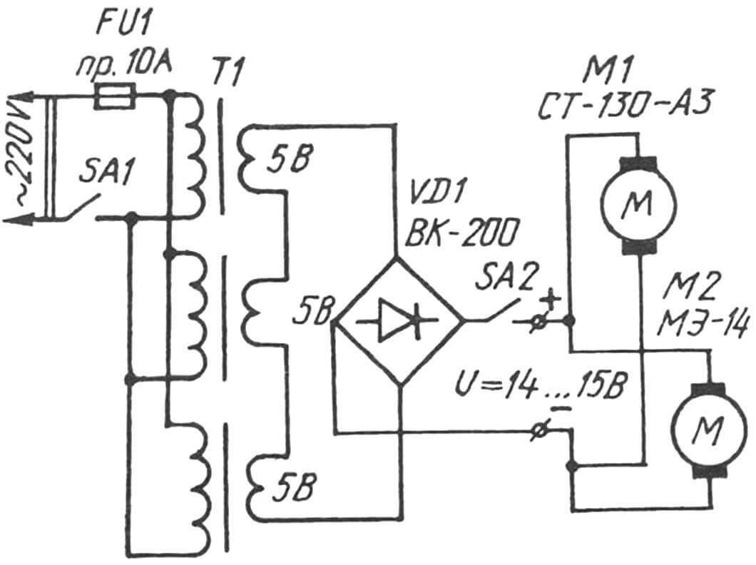 Принципиальная электросхема блока питания и подключения пилы