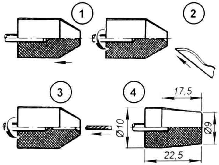 Держатель для сверл малого диаметра (1, 2, 3 - последовательность выполнения операции, 4 - переходник с конусом Морзе)