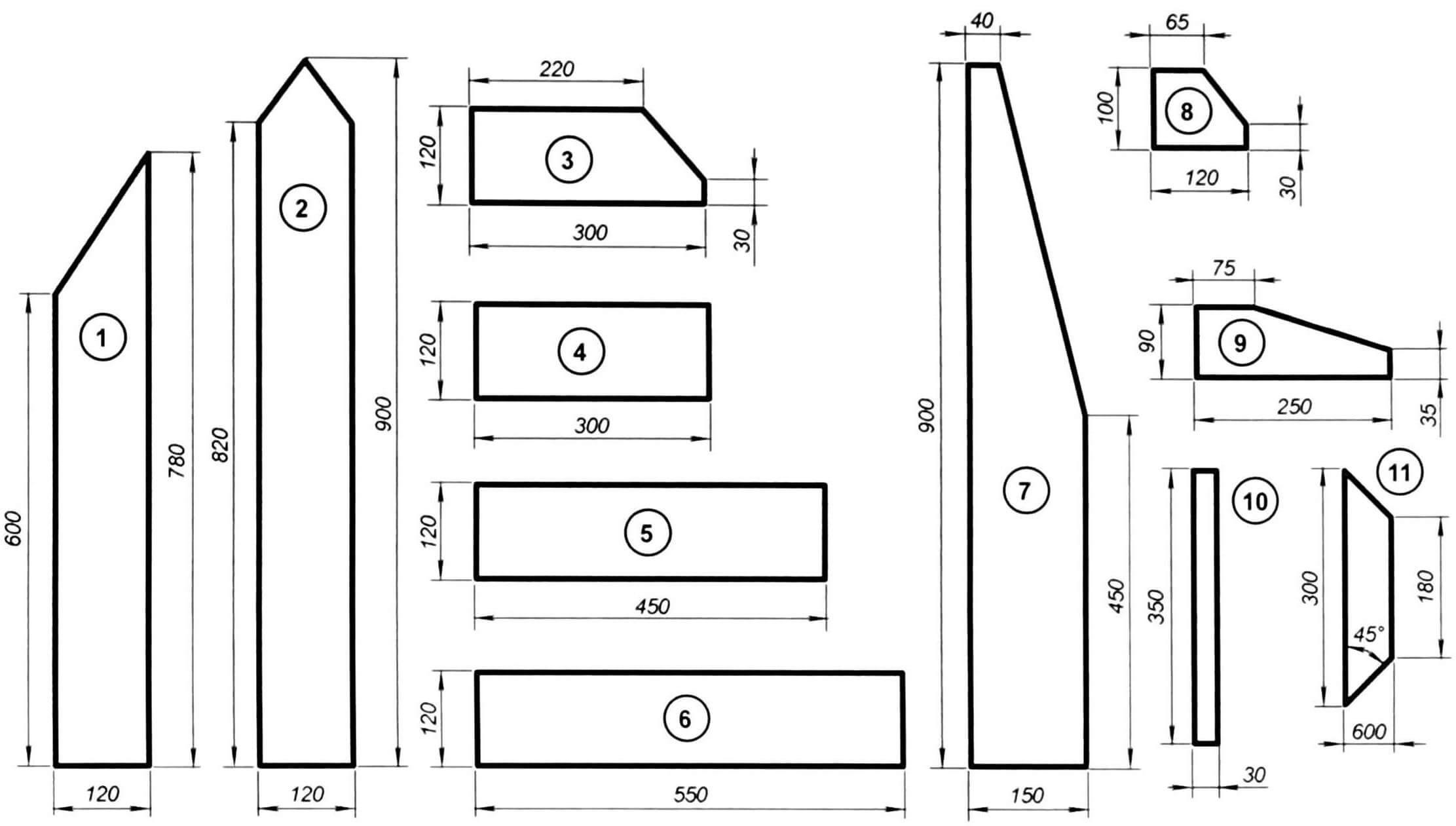 Комплект деталей для изготовления стула