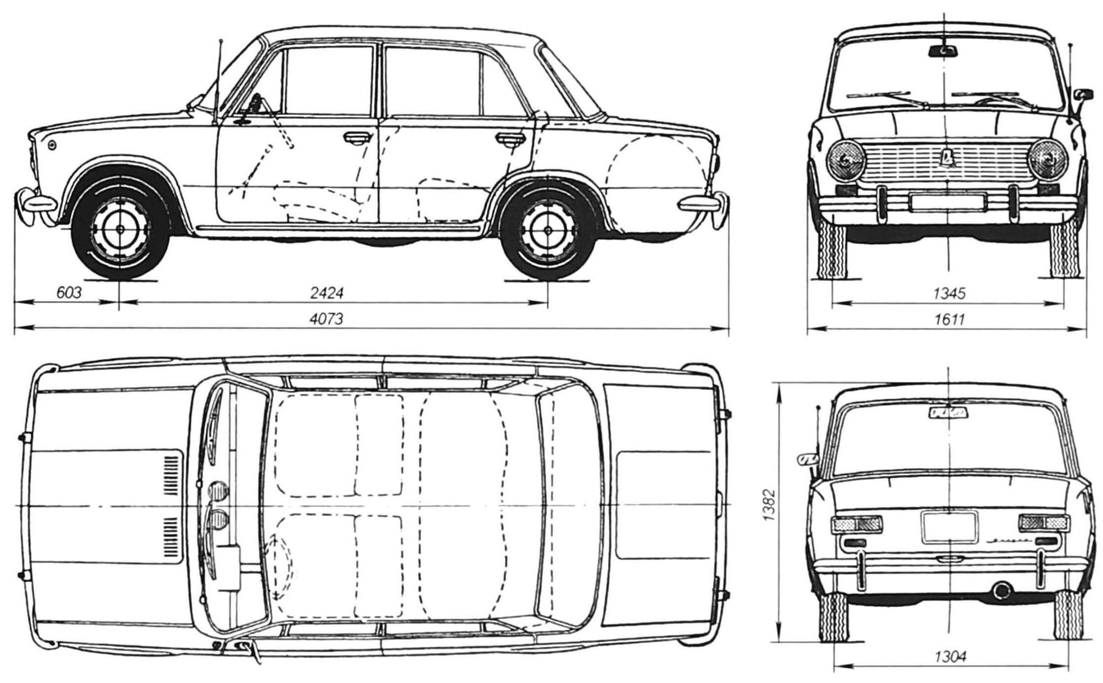 Геометрическая схема автомобиля ВАЗ-2101 «Жигули»