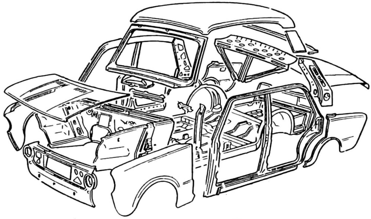 Элементы несущего кузова автомобиля ВАЗ-2101