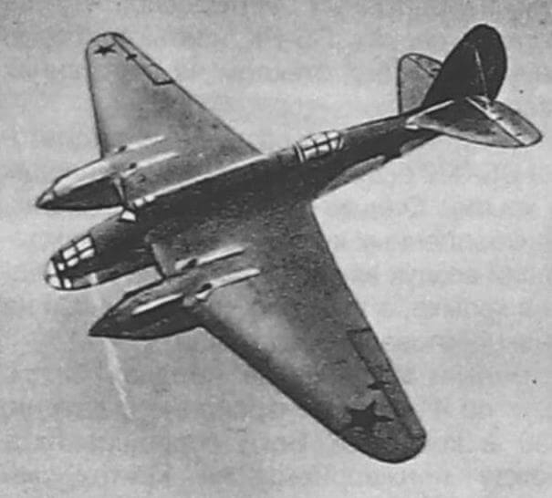 Серийный Ар-2 в полете (рисунок из альбома советских военных самолетов 1941 г.)