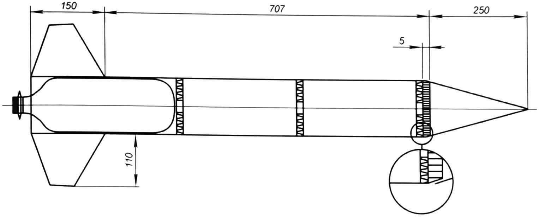 Сборочный чертеж ракеты с пневмогидравлическим двигателем