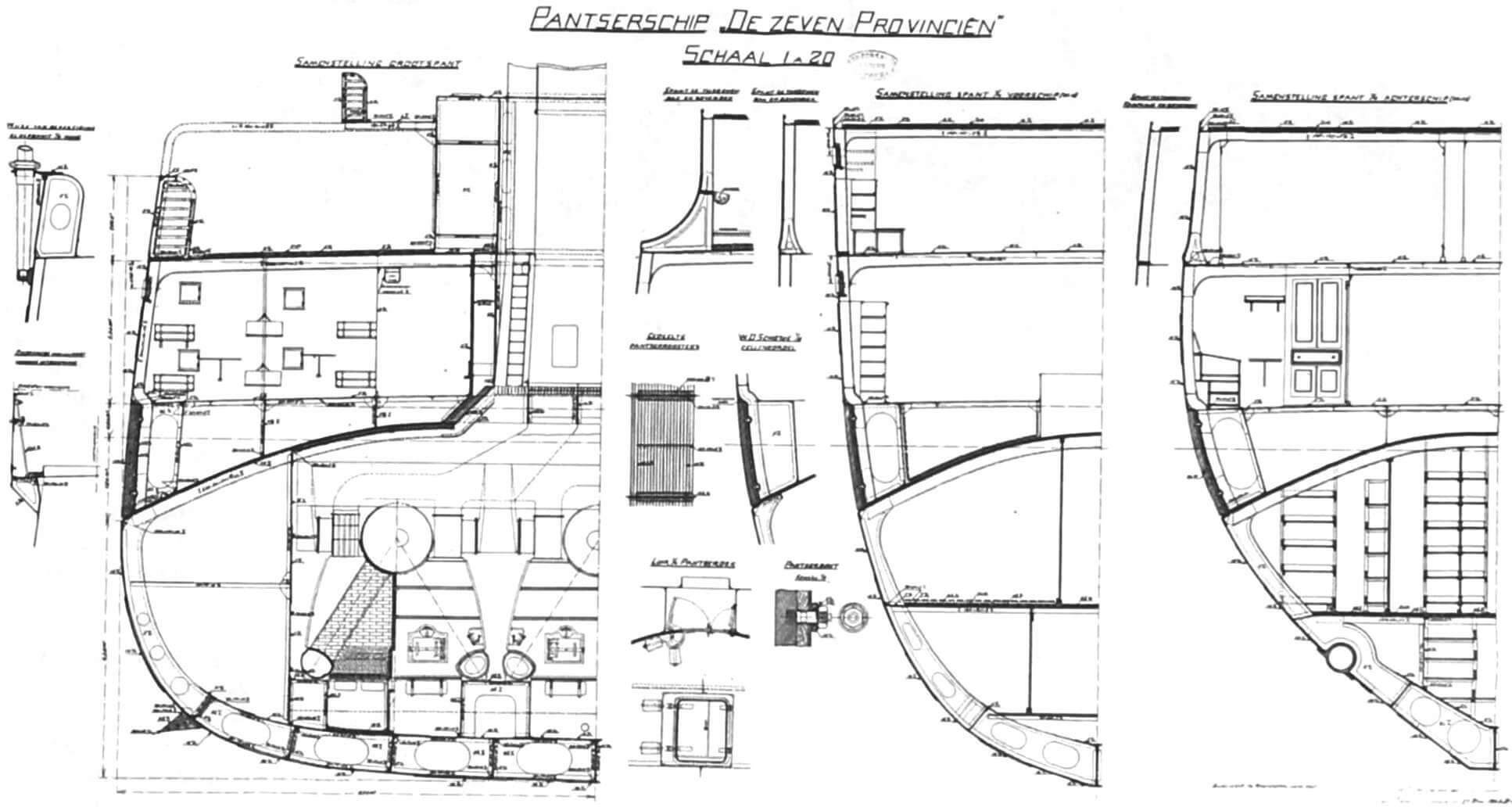 Броненосец «Де Зевен Провинсиен», сечения по шпангоутам (копия подлинного чертежа)