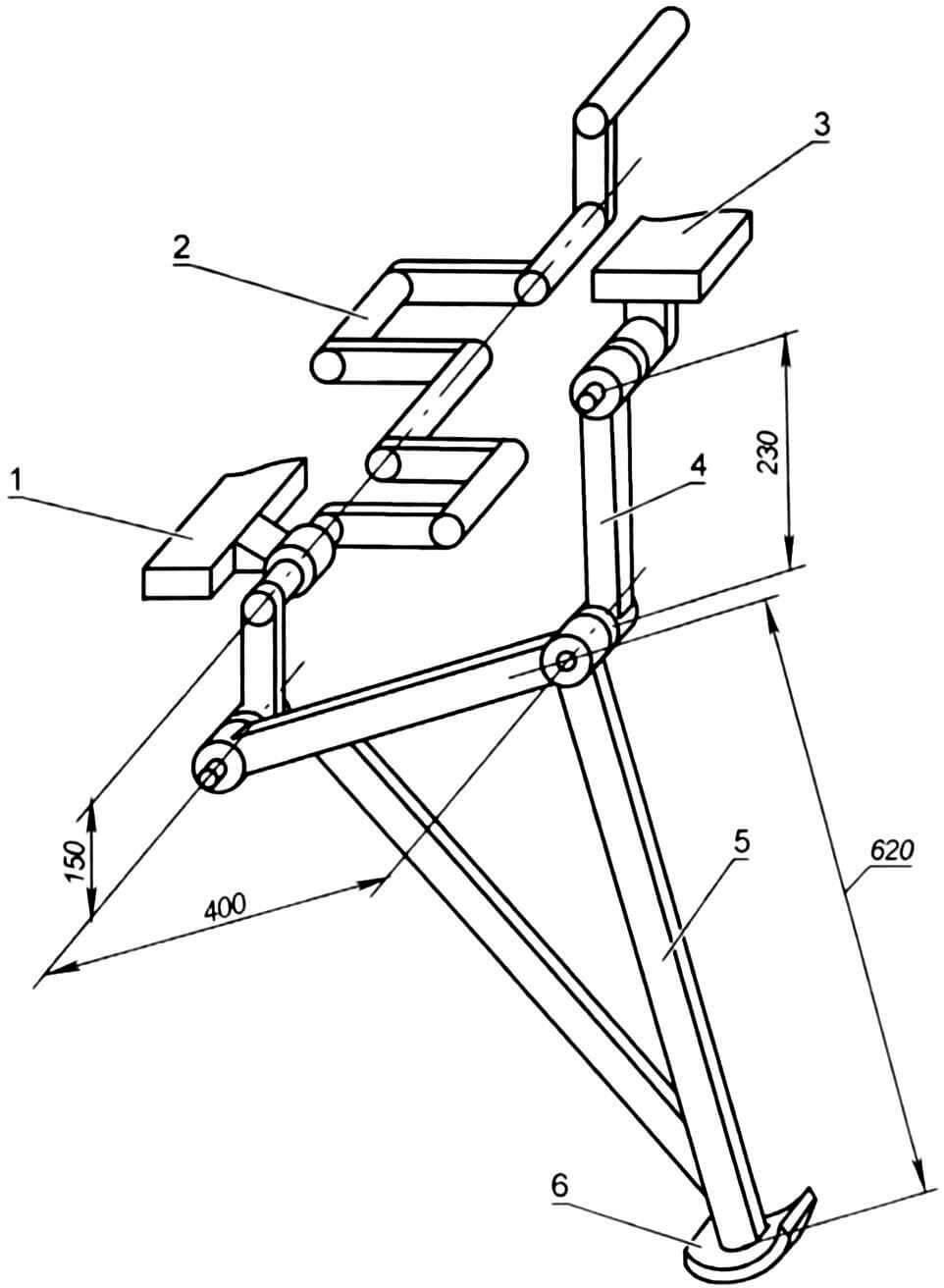Схема привода шагающего механизма (условно показана только крайняя правая нога)