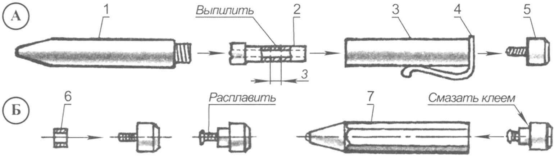 Монтаж вращающегося упора (А - разборка шариковой ручки; Б - сборка и монтаж упора)