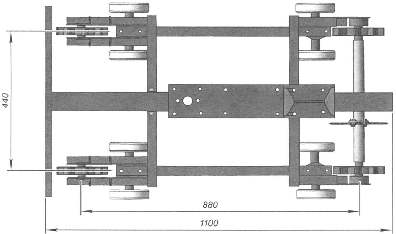 Основные размеры тележки моторно-гусеничного блока снегохода «Тритон»