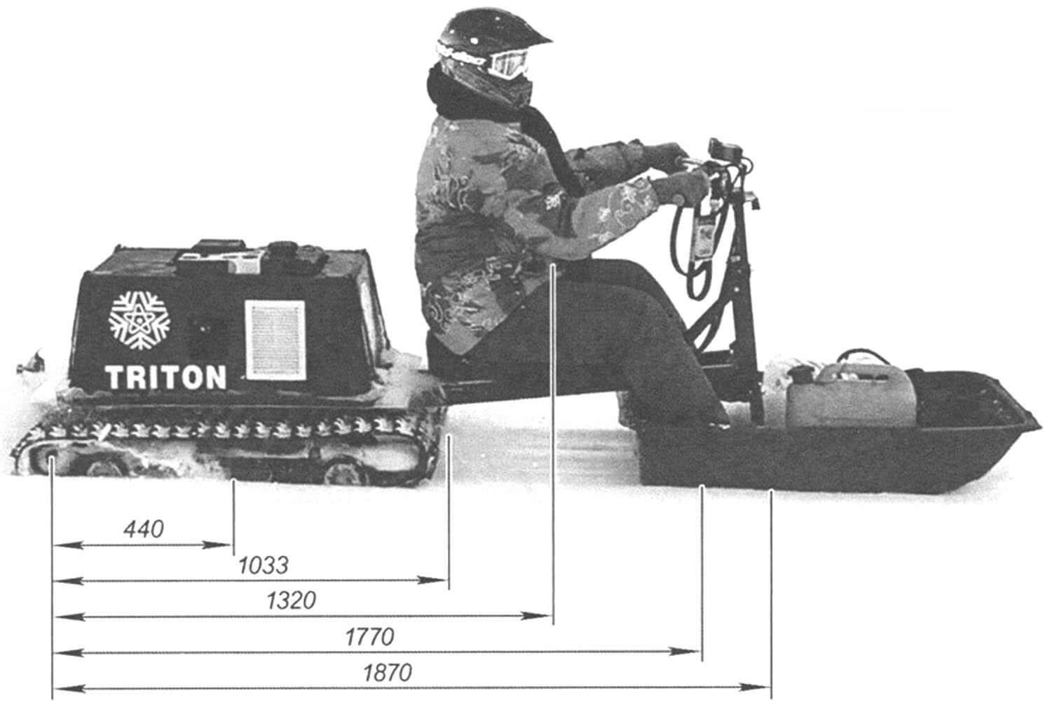 Основные компоновочные размеры снегохода «Тритон»